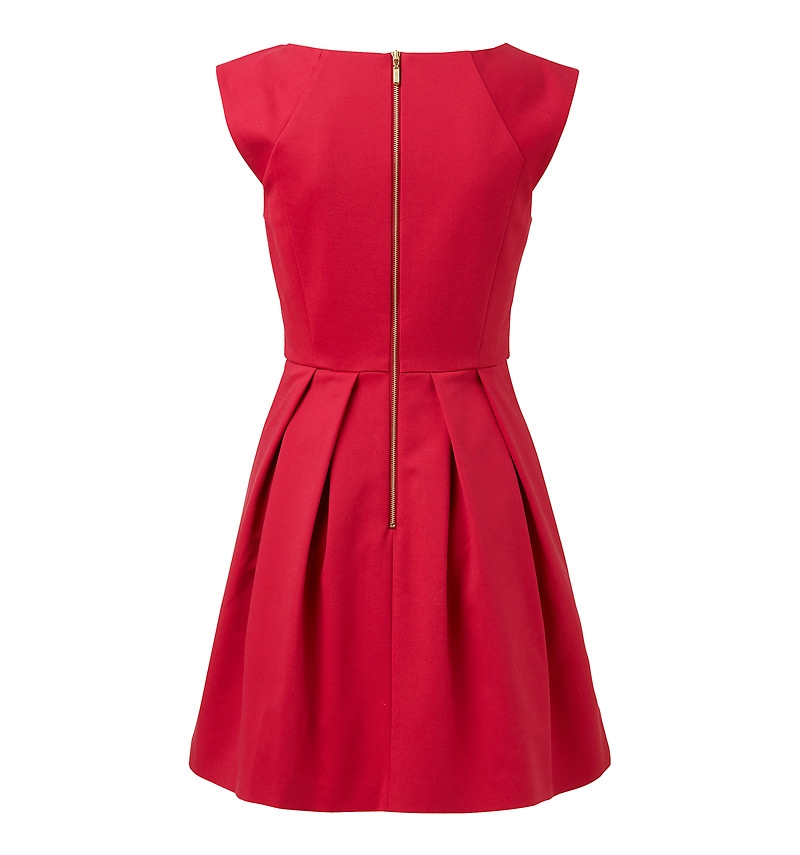 Caitlin Box Pleat Dress raspberry red - back
