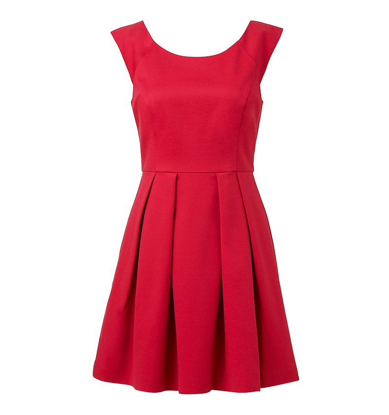 Caitlin Box Pleat Dress raspberry red - front