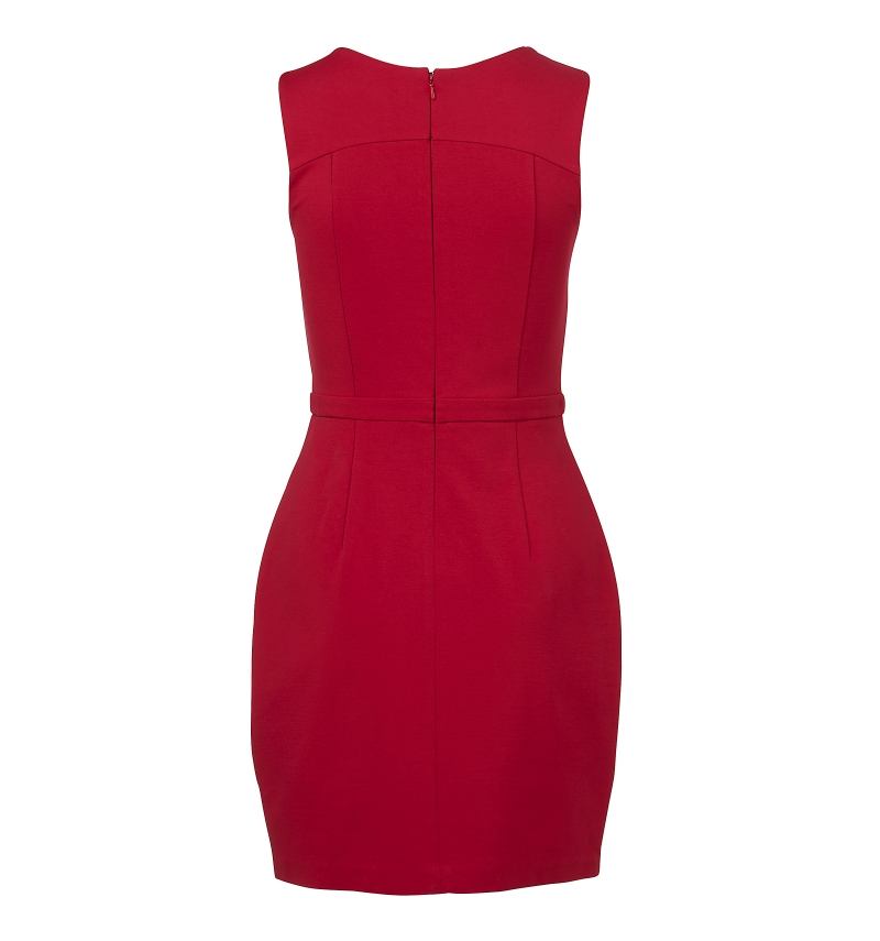 red ponte dress back