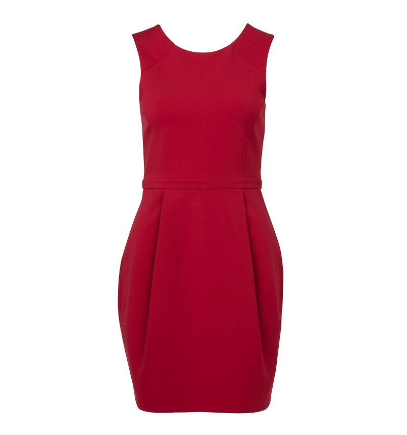 red ponte dress