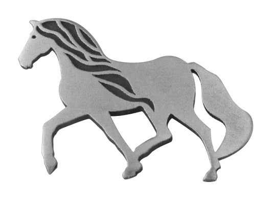 silver plated pewter Cavalia pin1