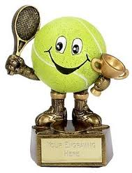 tennis balll with trophies