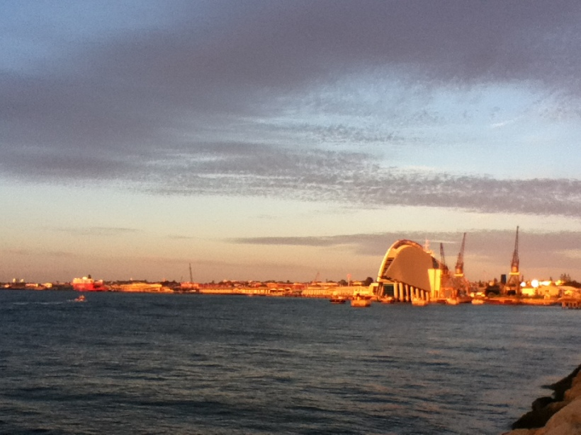 The Fremantle coastline showing the W.A. Maritime Museum, 6.38pm