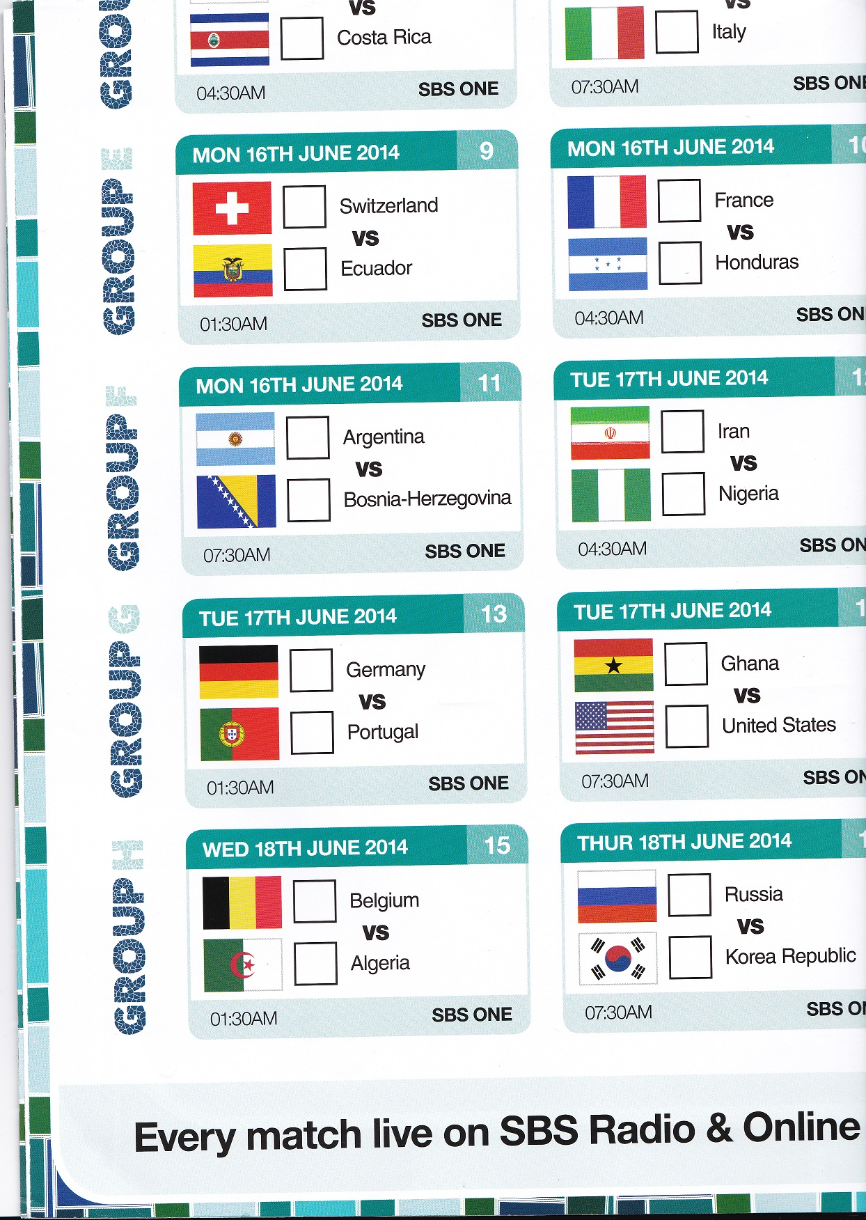 Soccer world cup matches on sbs