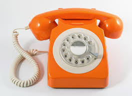 orange rotary telephone